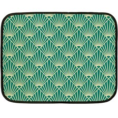 Teal,beige,art Nouveau,vintage,original,belle ¨|poque,fan Pattern,geometric,elegant,chic Double Sided Fleece Blanket (mini)