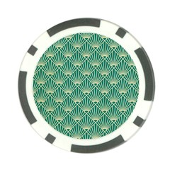 Teal,beige,art Nouveau,vintage,original,belle ¨|poque,fan Pattern,geometric,elegant,chic Poker Chip Card Guard (10 Pack)
