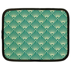 Teal,beige,art Nouveau,vintage,original,belle ¨|poque,fan Pattern,geometric,elegant,chic Netbook Case (xxl)