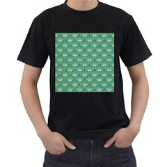 Teal,beige,art Nouveau,vintage,original,belle ¨|poque,fan Pattern,geometric,elegant,chic Men s T Shirt (black)