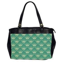 Teal,beige,art Nouveau,vintage,original,belle ¨|poque,fan Pattern,geometric,elegant,chic Office Handbags (2 Sides)