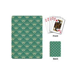 Teal,beige,art Nouveau,vintage,original,belle ¨|poque,fan Pattern,geometric,elegant,chic Playing Cards (mini)