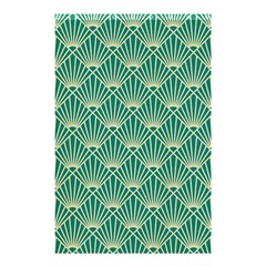 Teal,beige,art Nouveau,vintage,original,belle ¨|poque,fan Pattern,geometric,elegant,chic Shower Curtain 48  X 72  (small)