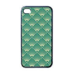 Teal,beige,art Nouveau,vintage,original,belle ¨|poque,fan Pattern,geometric,elegant,chic Apple Iphone 4 Case (black)