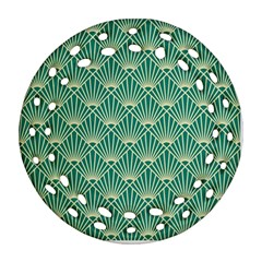 Teal,beige,art Nouveau,vintage,original,belle ¨|poque,fan Pattern,geometric,elegant,chic Ornament (round Filigree)