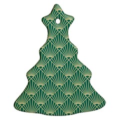 Teal,beige,art Nouveau,vintage,original,belle ¨|poque,fan Pattern,geometric,elegant,chic Christmas Tree Ornament (two Sides)