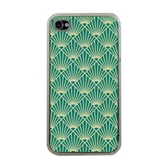 Teal,beige,art Nouveau,vintage,original,belle ¨|poque,fan Pattern,geometric,elegant,chic Apple Iphone 4 Case (clear)