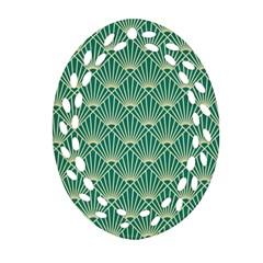 Teal,beige,art Nouveau,vintage,original,belle ¨|poque,fan Pattern,geometric,elegant,chic Ornament (oval Filigree)