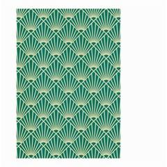Teal,beige,art Nouveau,vintage,original,belle ¨|poque,fan Pattern,geometric,elegant,chic Small Garden Flag (two Sides)