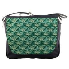 Teal,beige,art Nouveau,vintage,original,belle ¨|poque,fan Pattern,geometric,elegant,chic Messenger Bags