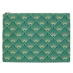 Teal,beige,art Nouveau,vintage,original,belle ¨|poque,fan Pattern,geometric,elegant,chic Cosmetic Bag (xxl)
