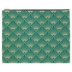 Teal,beige,art Nouveau,vintage,original,belle ¨ poque,fan Pattern,geometric,elegant,chic Cosmetic Bag (xxxl)