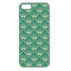 Teal,beige,art Nouveau,vintage,original,belle ¨|poque,fan Pattern,geometric,elegant,chic Apple Seamless Iphone 5 Case (clear)