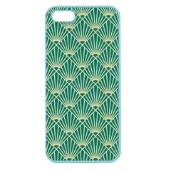Teal,beige,art Nouveau,vintage,original,belle ¨|poque,fan Pattern,geometric,elegant,chic Apple Seamless Iphone 5 Case (color)