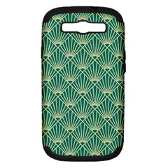Teal,beige,art Nouveau,vintage,original,belle ¨|poque,fan Pattern,geometric,elegant,chic Samsung Galaxy S Iii Hardshell Case (pc+silicone)