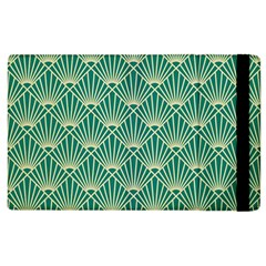 Teal,beige,art Nouveau,vintage,original,belle ¨|poque,fan Pattern,geometric,elegant,chic Apple Ipad 3/4 Flip Case