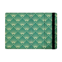 Teal,beige,art Nouveau,vintage,original,belle ¨|poque,fan Pattern,geometric,elegant,chic Apple Ipad Mini Flip Case