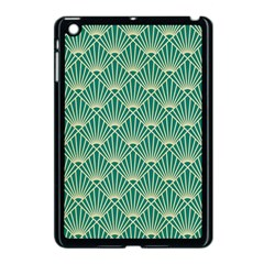 Teal,beige,art Nouveau,vintage,original,belle ¨|poque,fan Pattern,geometric,elegant,chic Apple Ipad Mini Case (black)
