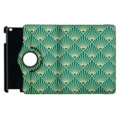 Teal,beige,art Nouveau,vintage,original,belle ¨|poque,fan Pattern,geometric,elegant,chic Apple Ipad 2 Flip 360 Case