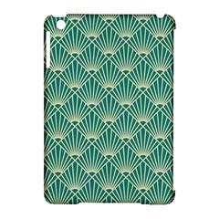 Teal,beige,art Nouveau,vintage,original,belle ¨|poque,fan Pattern,geometric,elegant,chic Apple Ipad Mini Hardshell Case (compatible With Smart Cover)