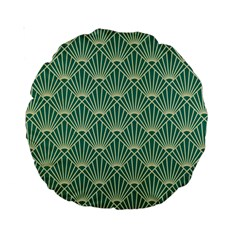Teal,beige,art Nouveau,vintage,original,belle ¨|poque,fan Pattern,geometric,elegant,chic Standard 15  Premium Round Cushions