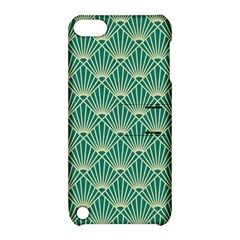 Teal,beige,art Nouveau,vintage,original,belle ¨|poque,fan Pattern,geometric,elegant,chic Apple Ipod Touch 5 Hardshell Case With Stand