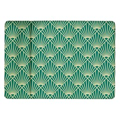 Teal,beige,art Nouveau,vintage,original,belle ¨|poque,fan Pattern,geometric,elegant,chic Samsung Galaxy Tab 10 1  P7500 Flip Case