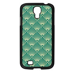 Teal,beige,art Nouveau,vintage,original,belle ¨|poque,fan Pattern,geometric,elegant,chic Samsung Galaxy S4 I9500/ I9505 Case (black)
