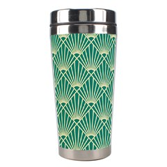 Teal,beige,art Nouveau,vintage,original,belle ¨|poque,fan Pattern,geometric,elegant,chic Stainless Steel Travel Tumblers