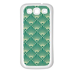 Teal,beige,art Nouveau,vintage,original,belle ¨|poque,fan Pattern,geometric,elegant,chic Samsung Galaxy S3 Back Case (white)