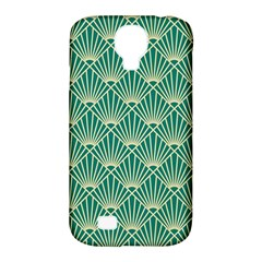 Teal,beige,art Nouveau,vintage,original,belle ¨ poque,fan Pattern,geometric,elegant,chic Samsung Galaxy S4 Classic Hardshell Case (pc+silicone)