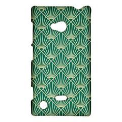 Teal,beige,art Nouveau,vintage,original,belle ¨|poque,fan Pattern,geometric,elegant,chic Nokia Lumia 720
