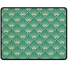 Teal,beige,art Nouveau,vintage,original,belle ¨|poque,fan Pattern,geometric,elegant,chic Double Sided Fleece Blanket (medium)
