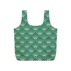 Teal,beige,art Nouveau,vintage,original,belle ¨|poque,fan Pattern,geometric,elegant,chic Full Print Recycle Bags (s)
