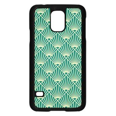 Teal,beige,art Nouveau,vintage,original,belle ¨|poque,fan Pattern,geometric,elegant,chic Samsung Galaxy S5 Case (black)