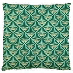Teal,beige,art Nouveau,vintage,original,belle ¨ poque,fan Pattern,geometric,elegant,chic Large Flano Cushion Case (two Sides)