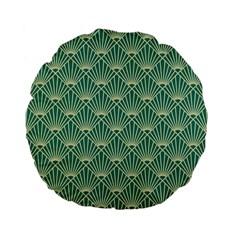 Teal,beige,art Nouveau,vintage,original,belle ¨|poque,fan Pattern,geometric,elegant,chic Standard 15  Premium Flano Round Cushions