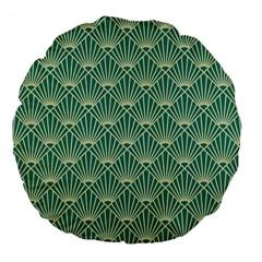 Teal,beige,art Nouveau,vintage,original,belle ¨ poque,fan Pattern,geometric,elegant,chic Large 18  Premium Flano Round Cushions