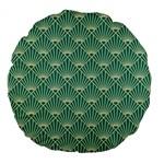 teal,beige,Art nouveau,vintage,original,belle époque,fan pattern,geometric,elegant,chic Large 18  Premium Flano Round Cushions Back