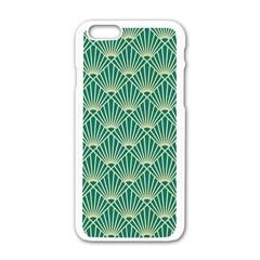 Teal,beige,art Nouveau,vintage,original,belle ¨|poque,fan Pattern,geometric,elegant,chic Apple Iphone 6/6s White Enamel Case