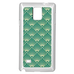 Teal,beige,art Nouveau,vintage,original,belle ¨|poque,fan Pattern,geometric,elegant,chic Samsung Galaxy Note 4 Case (white)