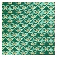 Teal,beige,art Nouveau,vintage,original,belle ¨|poque,fan Pattern,geometric,elegant,chic Large Satin Scarf (square)