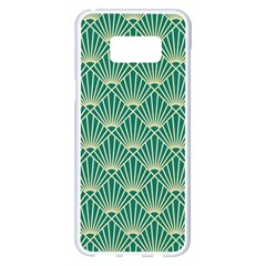 Teal,beige,art Nouveau,vintage,original,belle ¨|poque,fan Pattern,geometric,elegant,chic Samsung Galaxy S8 Plus White Seamless Case