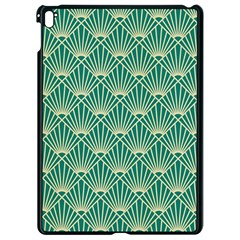 Teal,beige,art Nouveau,vintage,original,belle ¨|poque,fan Pattern,geometric,elegant,chic Apple Ipad Pro 9 7   Black Seamless Case