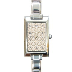 Gold,white,art Deco,vintage,shell Pattern,asian Pattern,elegant,chic,beautiful Rectangle Italian Charm Watch