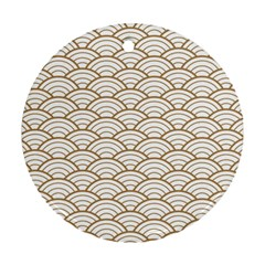 Gold,white,art Deco,vintage,shell Pattern,asian Pattern,elegant,chic,beautiful Ornament (round)