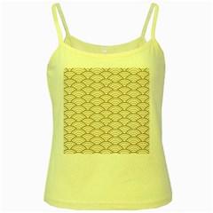 Gold,white,art Deco,vintage,shell Pattern,asian Pattern,elegant,chic,beautiful Yellow Spaghetti Tank