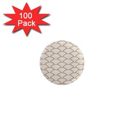 Gold,white,art Deco,vintage,shell Pattern,asian Pattern,elegant,chic,beautiful 1  Mini Magnets (100 Pack)