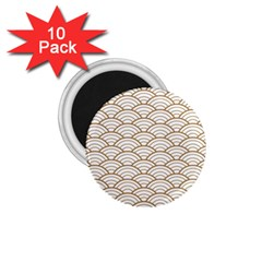 Gold,white,art Deco,vintage,shell Pattern,asian Pattern,elegant,chic,beautiful 1 75  Magnets (10 Pack)