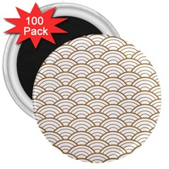 Gold,white,art Deco,vintage,shell Pattern,asian Pattern,elegant,chic,beautiful 3  Magnets (100 Pack)